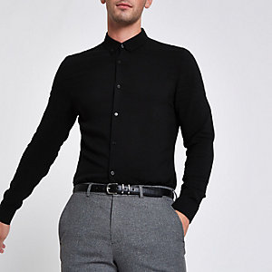 Black button-up long sleeve shirt