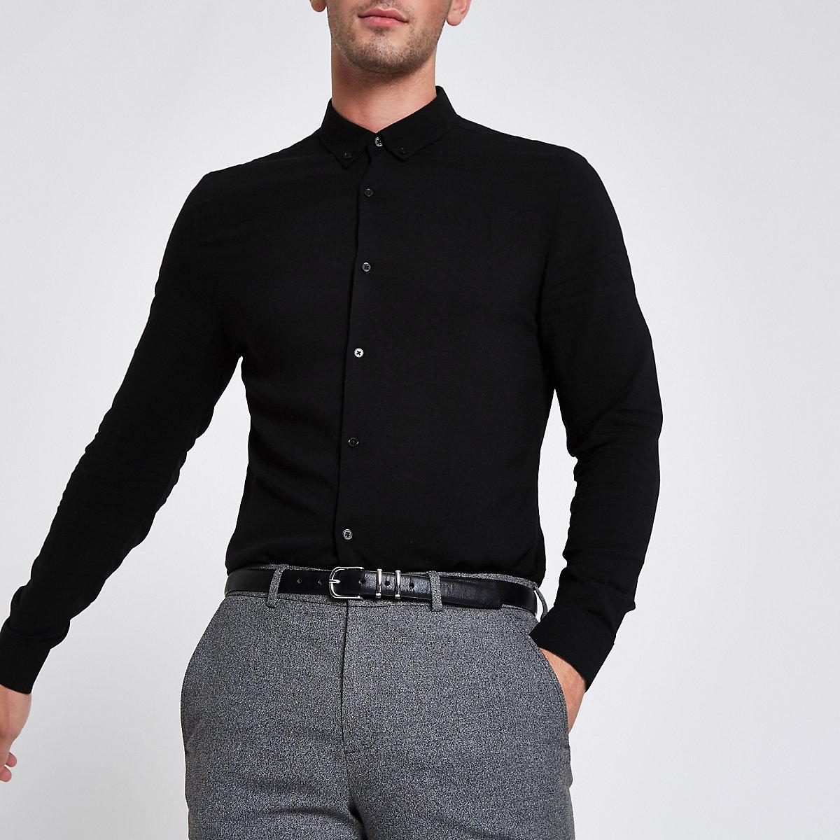 Black button-down long sleeve shirt