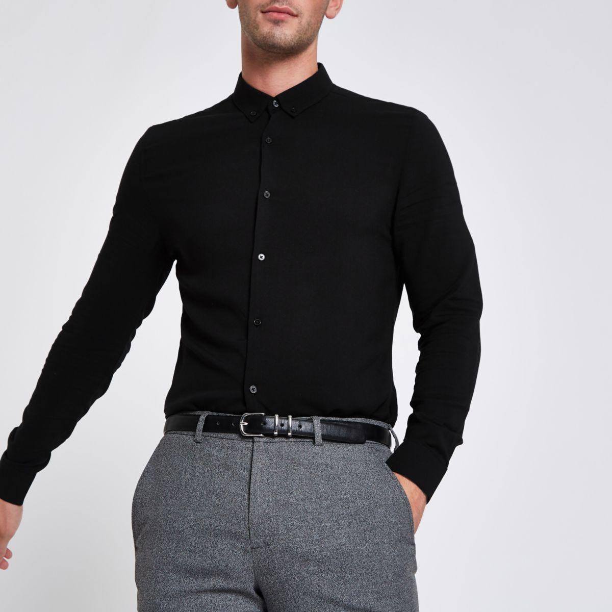 Black textured button-up long sleeve shirt