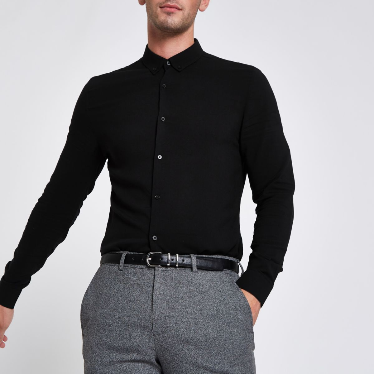 Black button-up long sleeve shirt