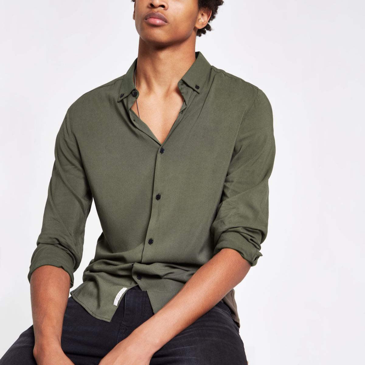 Khaki viscose long sleeve shirt