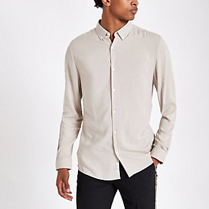 Stone viscose long sleeve shirt