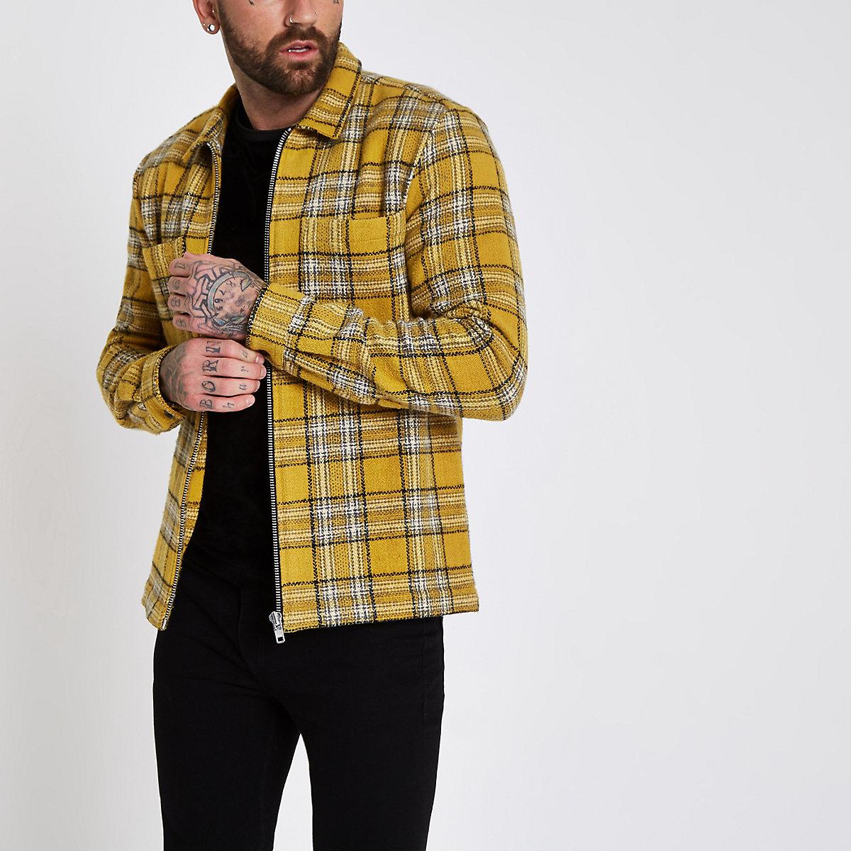 Veste Zippée Chemise À Jaune Longues Manches Carreaux Chemises 88qSrA