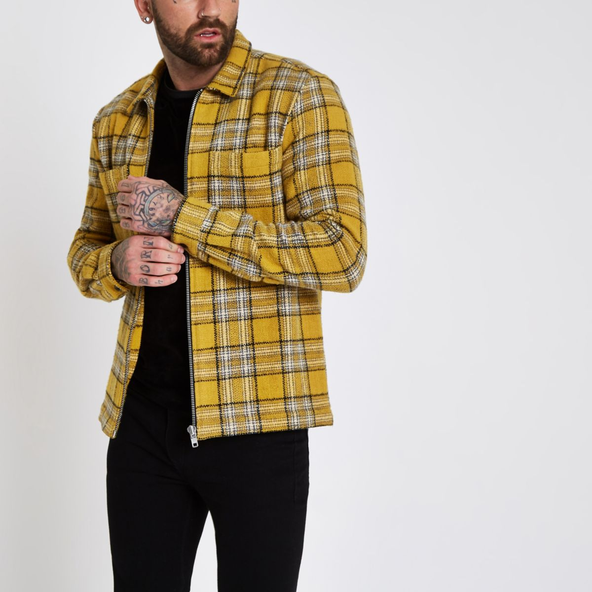 Yellow check zip up shacket