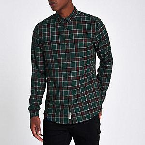 Chemise manches longues verte à carreaux