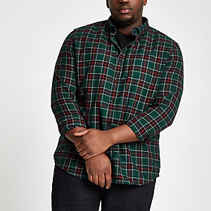 Big & Tall green check button-up shirt
