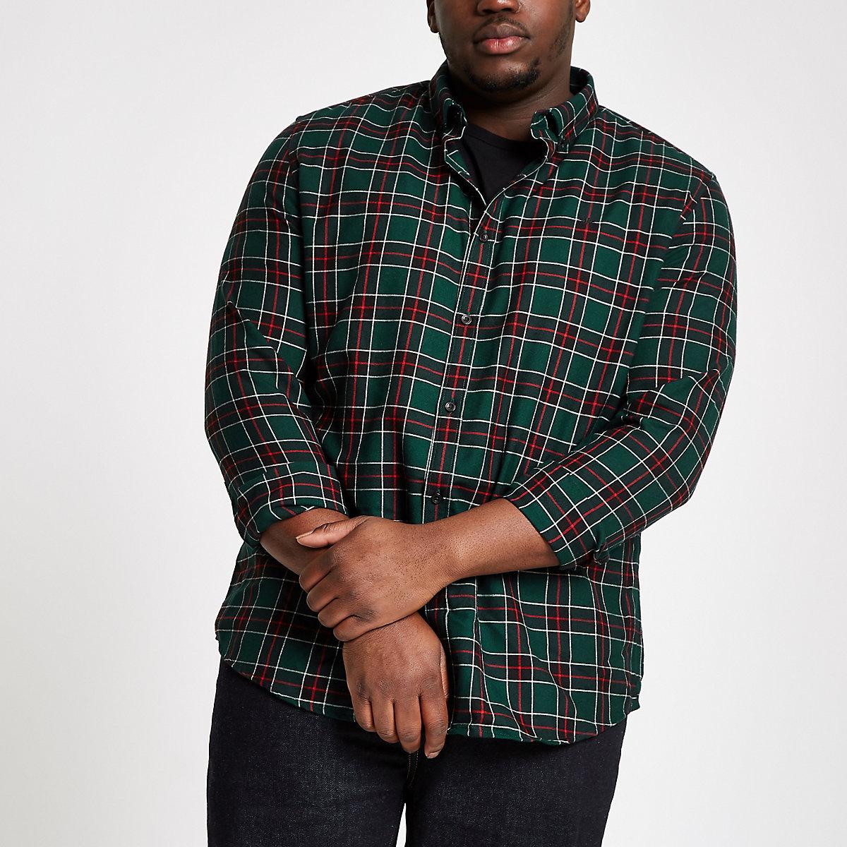 Big and Tall green check button-down shirt