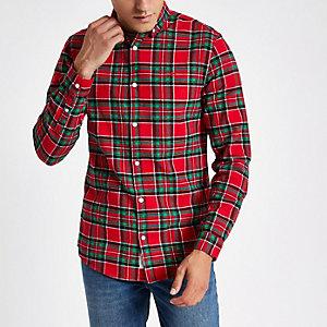 Chemise écossaise rouge à manches longues avec guêpe brodée
