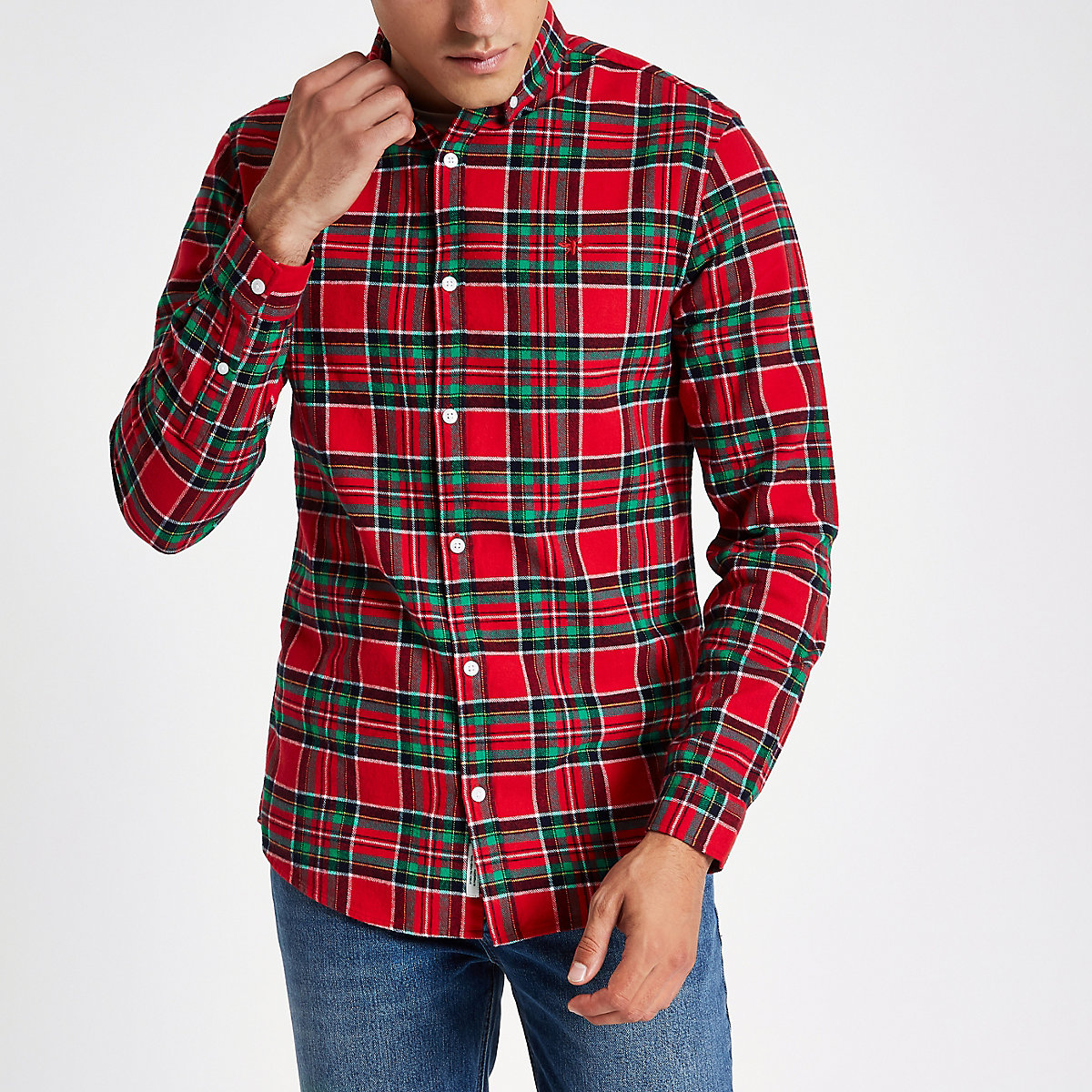 Red check wasp embroidered long sleeve shirt