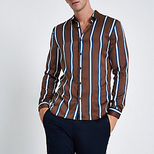 Brown satin stripe long sleeve shirt