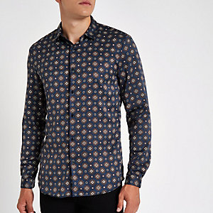 Navy geo print satin long sleeve shirt