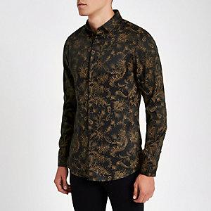 Bruin slim-fit overhemd met lange mouwen en paisleyprint