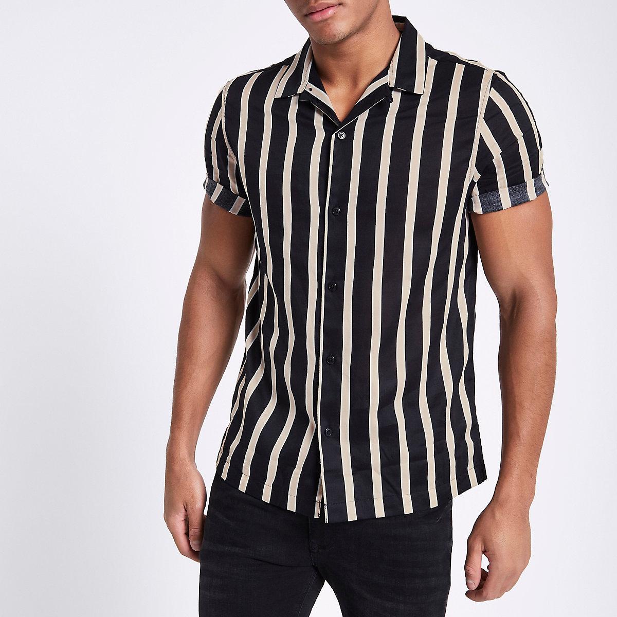 Black twill stripe print short sleeve shirt