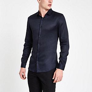 Chemise bleu marine boutonnée à manches longues