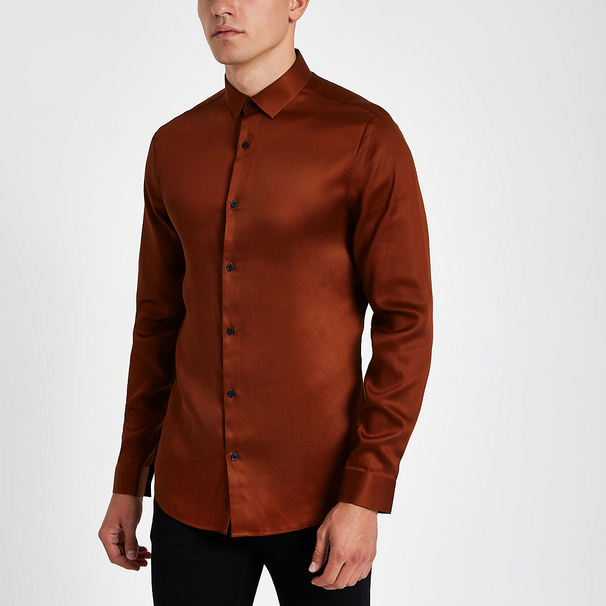 Red button-down long sleeve shirt