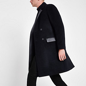 Navy wool blend leather panel longline coat