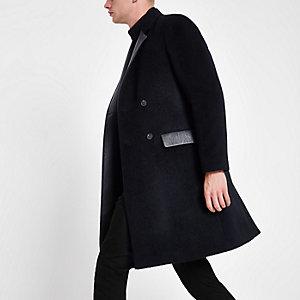 Manteau long en laine mélangée bleu marine avec empiècements en cuir