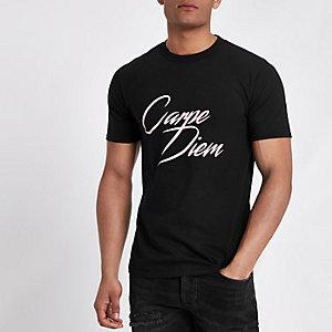 Black 'Carpe Diem' short sleeve T-shirt