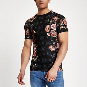Black rose mix print muscle fit T-shirt