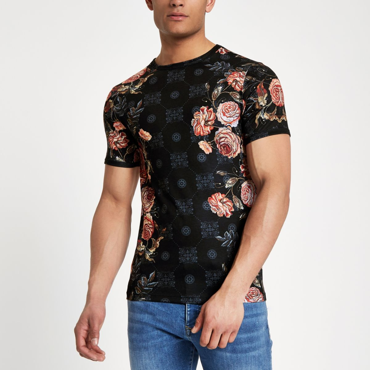 Black rose mix print muscle fit T-shirt