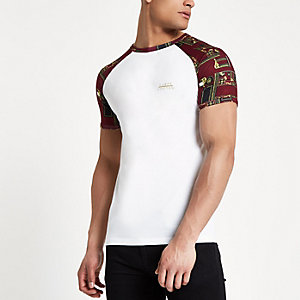 White raglan short sleeve muscle fit T-shirt