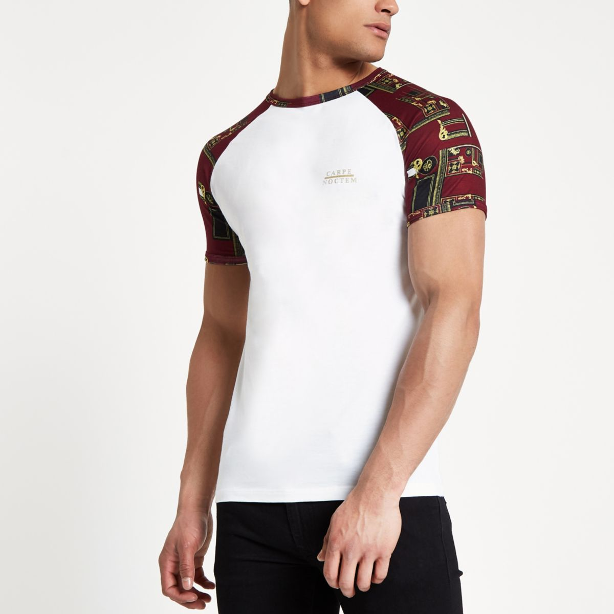 White raglan short sleeve muscle fit T-shirt