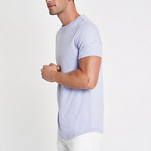 Purple muscle fit longline curved hem T-shirt