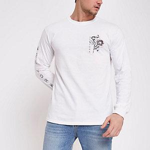 T-shirt blanc motif rose et «New York» à manches longues