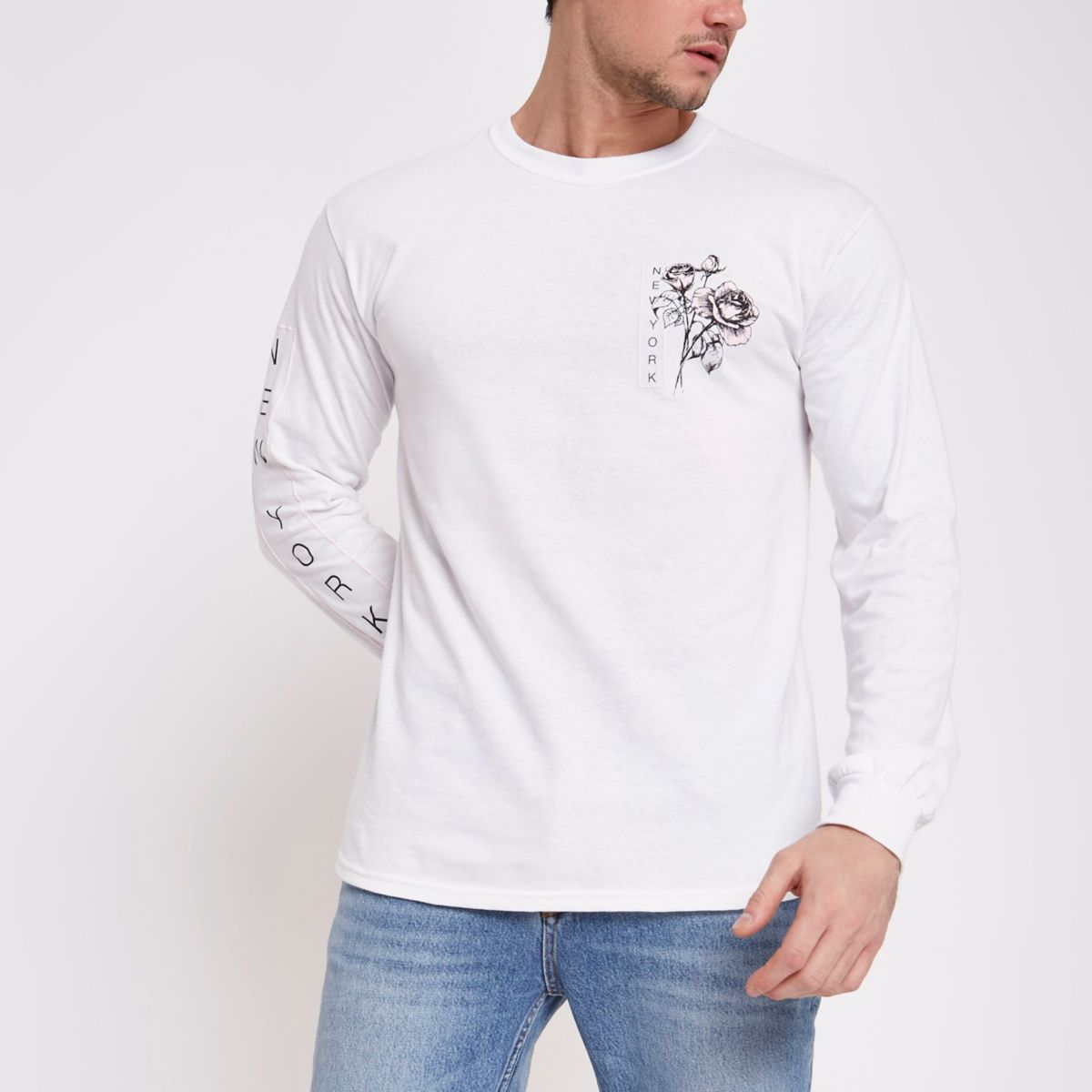 White 'New York' rose long sleeve T-shirt