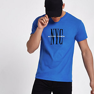 Royal blue 'NYC' short sleeve T-shirt