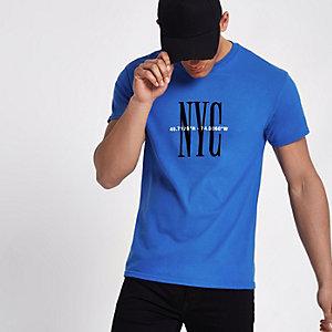 T-shirt manches courtes à imprimé « NYC » bleu roi