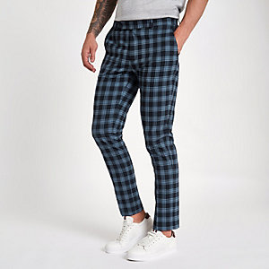 Navy check print skinny smart trousers
