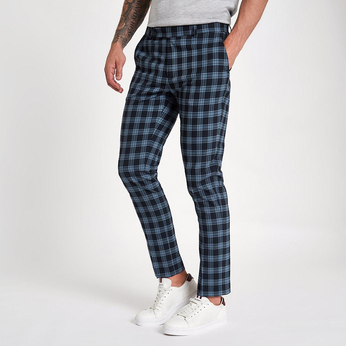 Navy check print skinny smart pants