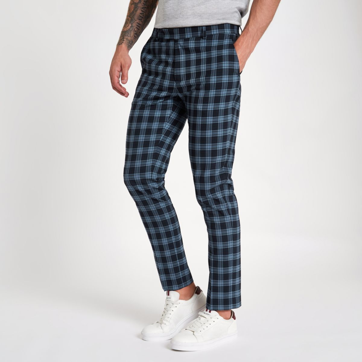 Navy check print skinny smart trousers