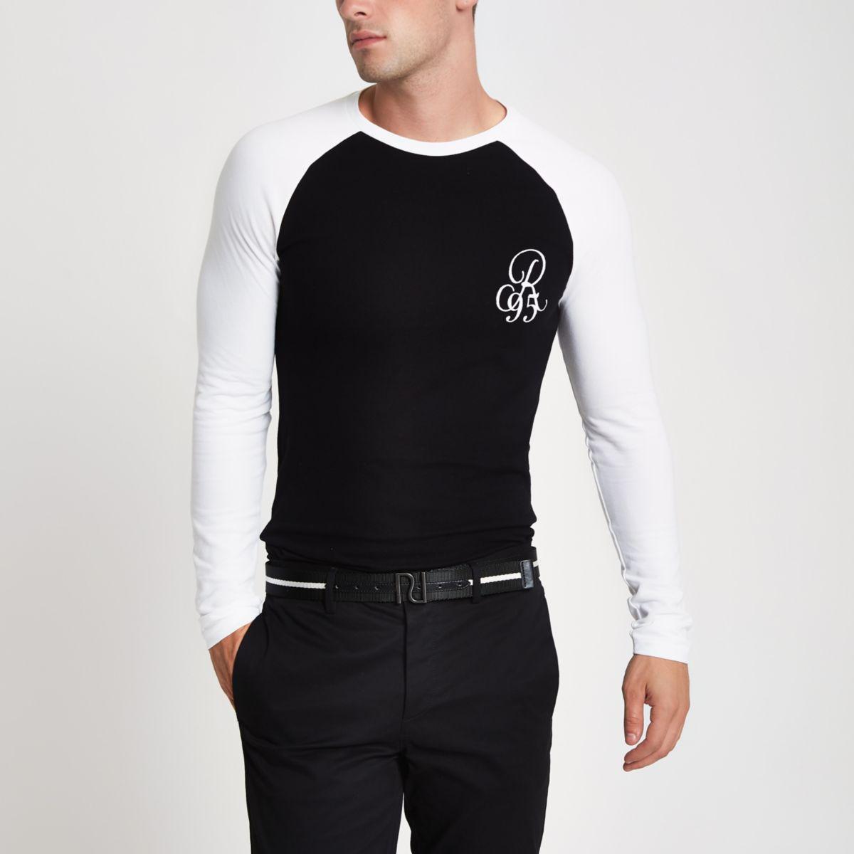 Black pique muscle fit T-shirt