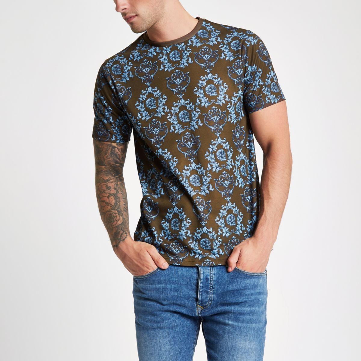 Brown skull print slim fit T-shirt