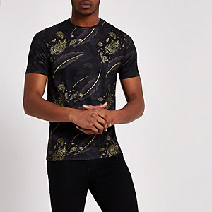 Black paisley feather print slim fit T-shirt