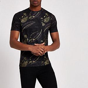 Zwart slim-fit T-shirt met paisley- en verenprint