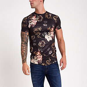 Black dragon print muscle fit T-shirt