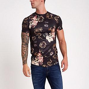 Zwart aansluitend T-shirt met drakenprint