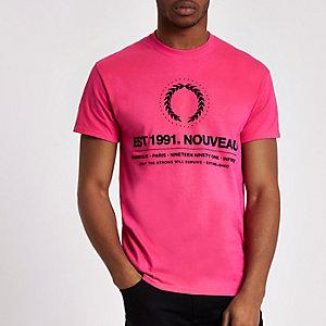 Pink 'Nouveau' crest crew neck T-shirt