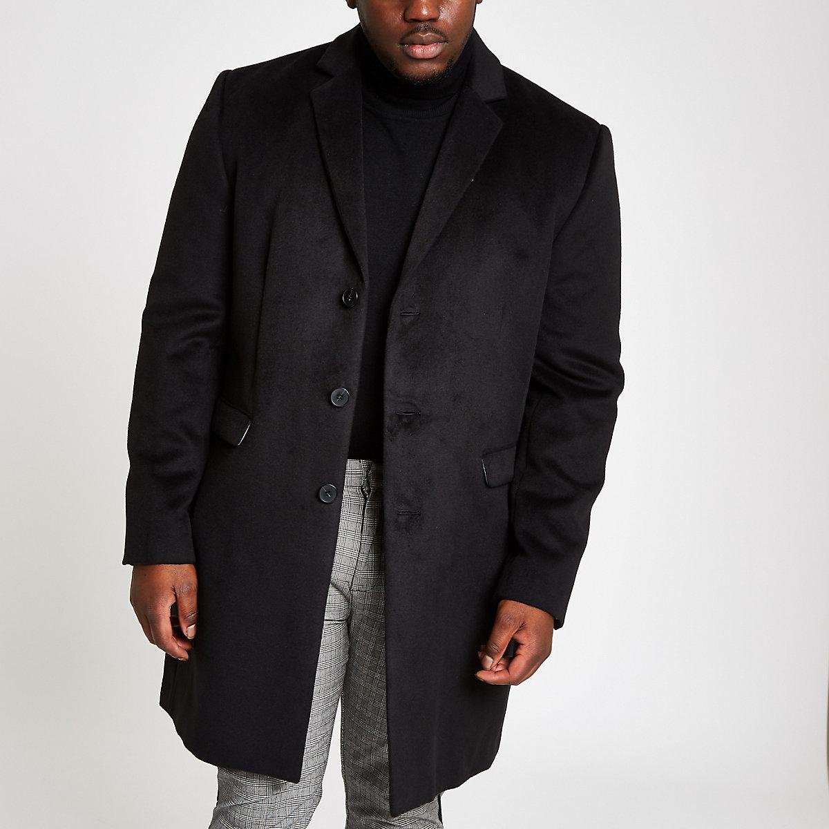 Big & Tall – Schwarzer, eleganter Button-Down-Mantel