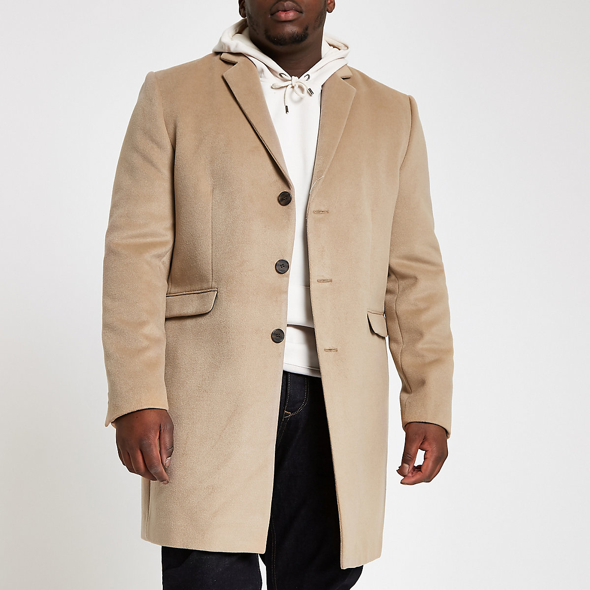 Big and Tall light brown button down overcoat