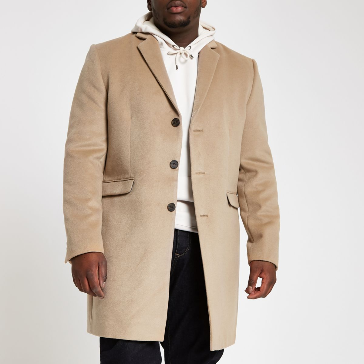 Big & Tall light brown button up overcoat
