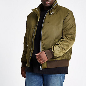 Big and Tall khaki racer neck jacket