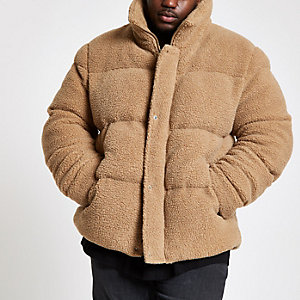Big & Tall ecru fleece puffa coat