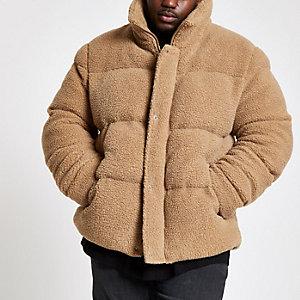 Big and Tall - Ecru gewatteerde jas met borg
