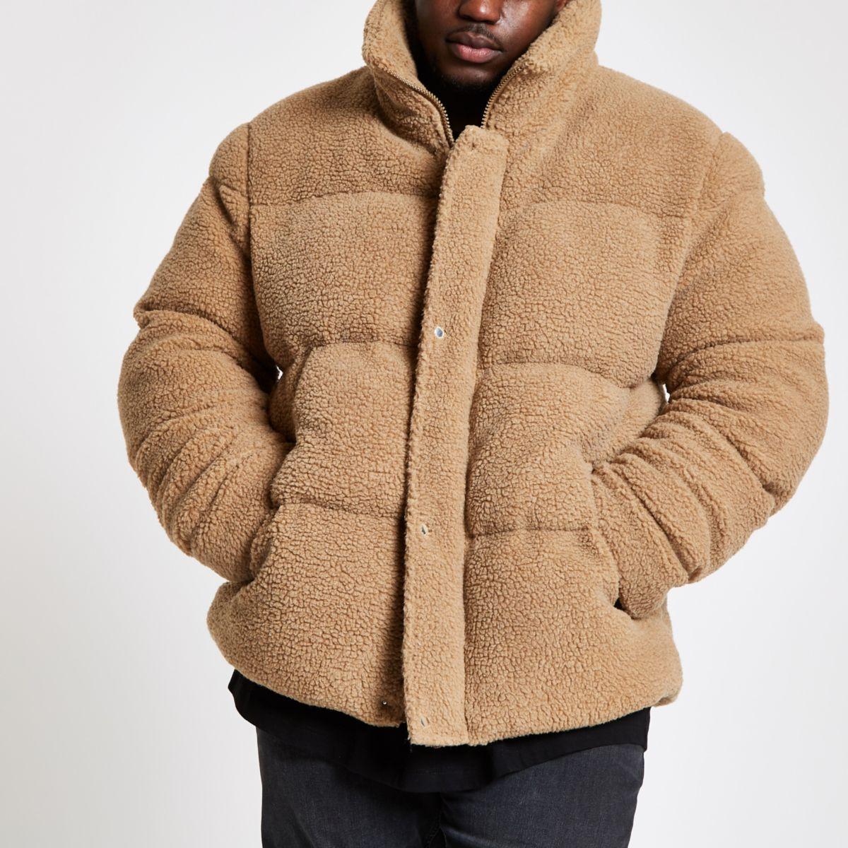 Big & Tall ecru fleece puffa coat