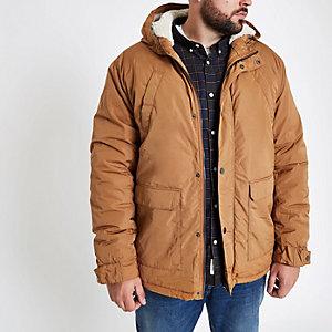 Big & Tall – Manteau noir doublé imitation peau de mouton