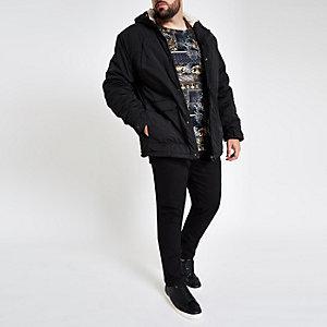 Big & Tall - Zwarte jas met capuchon en borg voering